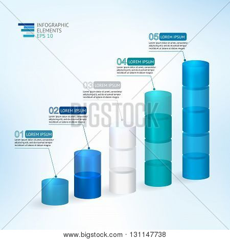 Modern vector 3D illustration infographic for statistics, analytics, financial reports, presentation and web design with transparent growing graph in blue colors. Vector illustration.