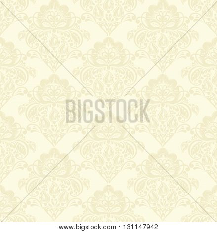 Vector damask seamless pattern beige background. Elegant luxury texture for wallpapers, backgrounds and page fill