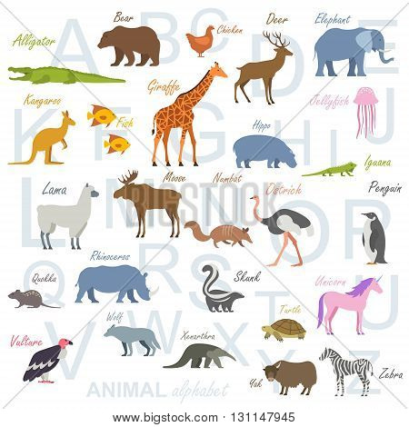 Cute vector zoo alphabet. Funny cartoon animals