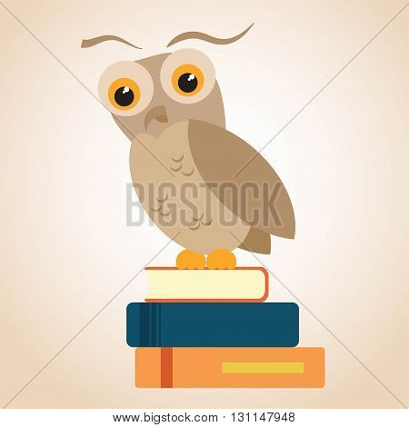 Owl on a pile of books. Text can be added