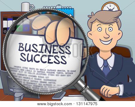 Business Success on Paper in Officeman's Hand through Lens to Illustrate a Business Concept. Colored Doodle Style Illustration.