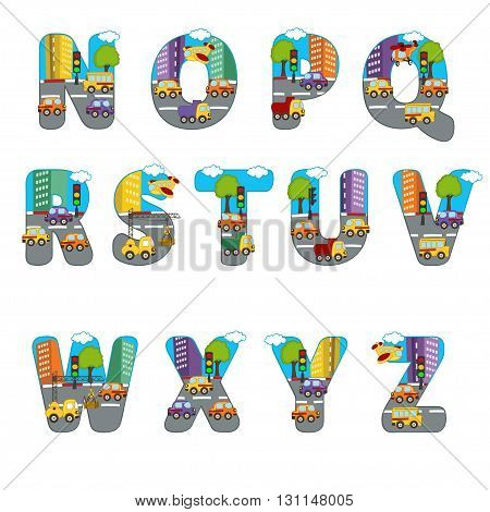 alphabet city from N to Z - vector illustration, eps