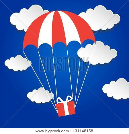 Gift box flying down from sky with parachute. Vector illustration