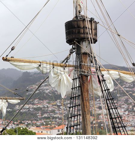 Mast and Rigging of the Santa Maria de Colombo in the harbor of Funchal on Madeira