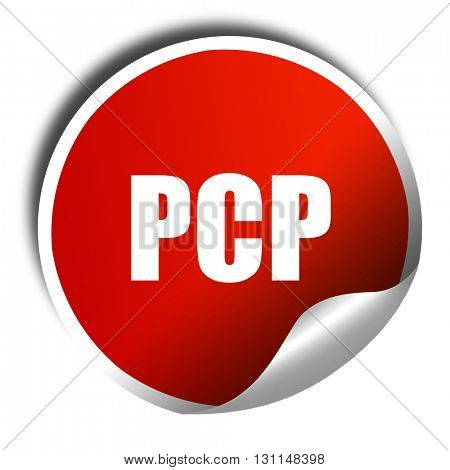 pcp, 3D rendering, red sticker with white text