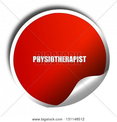 physiotherapist, 3D rendering, red sticker with white text