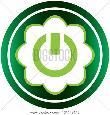 Green icon with a symbol of inclusion and switching off