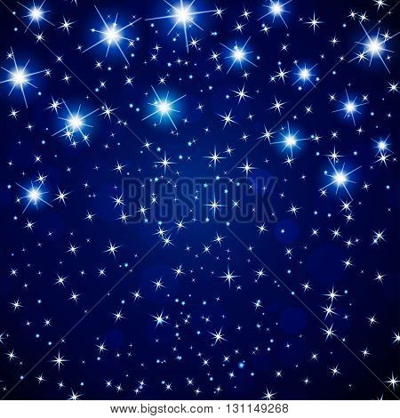 Abstract  cosmos night sky  background with glowing stars. Vector illustration.