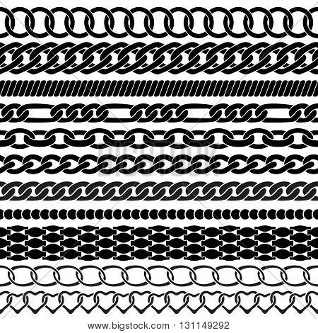 Assorted black silhouettes chains on white background. Vector brushes for your design.