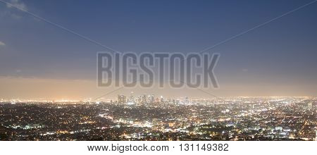 Wide Aspect Ratio overlooking Downtown Los Angeles Skyline at Night