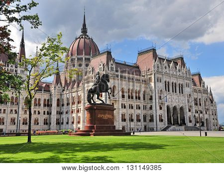 BUDAPEST HUNGARY - MAY 16: View of the Parliament and monument in Budapest on May 16 2016. Budapest it the capital and largest city of Hungary.