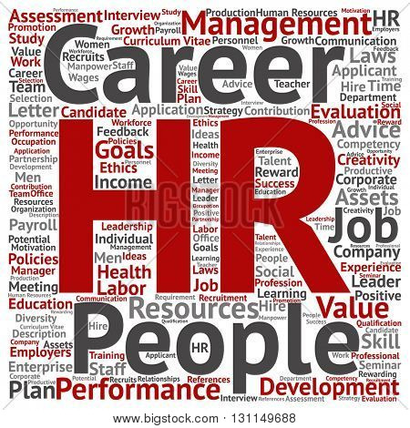 Concept conceptual hr or human resources management abstract square word cloud isolated on background