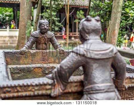 Chinese Sculpture Statue In Close Focus, Shallow Dof