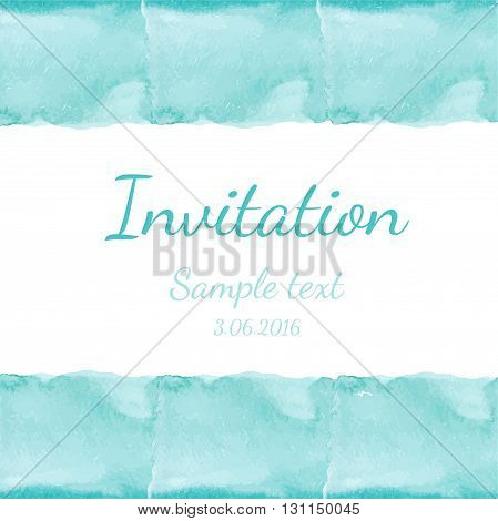 Invitation With Watercolor Background. Vector