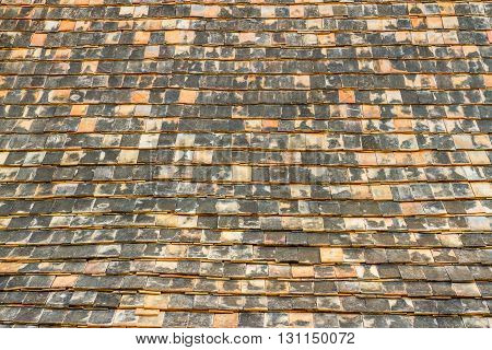Old and dirty brick temple roof texture