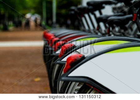 Row of city bikes for rent in the city