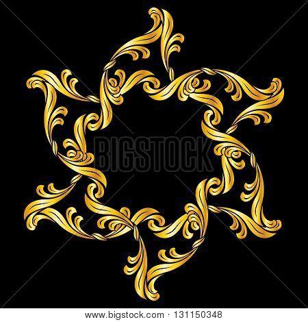 Gold floral ornament. Illustration on black background