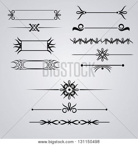 Collection of hand drawn vintage frames for text decoration in vector monograms for text