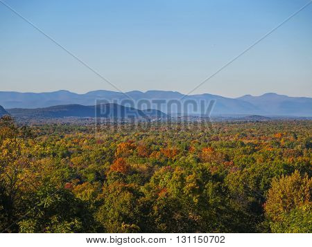 Fall Colors in Upstate New York with mountains in the background