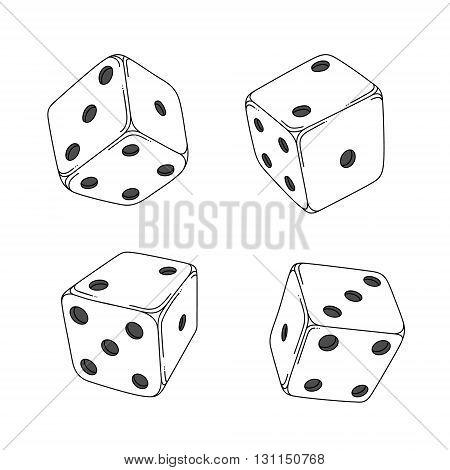 Four white cartoon-style dice cubes on white background