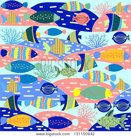 Vector pattern decorative marine life seamless background. Cartoon vector wallpaper with fish and marine life