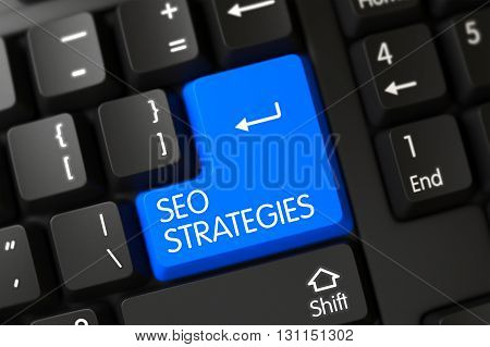 Concepts of Seo Strategies, with a Seo Strategies on Blue Enter Keypad on Modernized Keyboard. Seo Strategies Close Up of Computer Keyboard on a Modern Laptop. 3D.