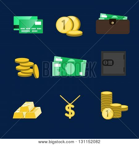 Money Icons Vector Set. Money Sign Vector Illustration. Vector Cash. Saving Cash And Investments Vec