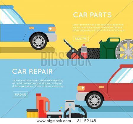 Car Parts Vector Set. Car Service Vector Icon Set. Car Parts Shop Banner. Car Service. Tire Service