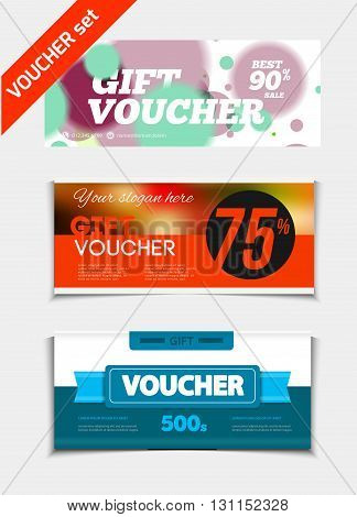 Gift Voucher Vector Set. Sale Voucher Vector Illustration. Store Voucher With Text. Shop Voucher Pro