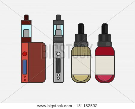Vape Device Vector Set. Vaping Juice For Vape. Vape Trend New Culture. Vape Smoking. Vapor Vaping. V
