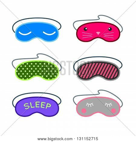 Sleep Mask Vector Set. Night Sleeping Mask Vector Icon. Sleep Mask For Travel. Relax Sleep Mask. Mas