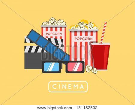 Popcorn Food Vector Illustration. Popcorn In Bucket. Big Popcorn Box. Salt Popcorn. Caramel Popcorn.