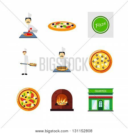Pizzeria Vector Set. Pizza Cafe Or Restaurant Sign. Pizza Icons For Menu Or Web. Pizza Chef, Pizza O