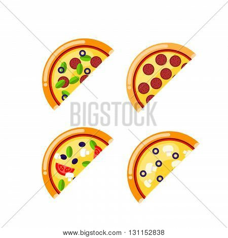 Pizza Food Circle. Vector Set Of Pizza Icons Isolated On White Background. Pizza Vector Collection W
