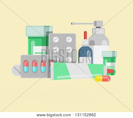 Pills Against Diseases Vector Set. Pills In Your Medicine Chest. Pills Bottles Vector Illustration.