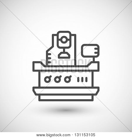 Vertical milling machine line icon isolated on grey. Vector illustration