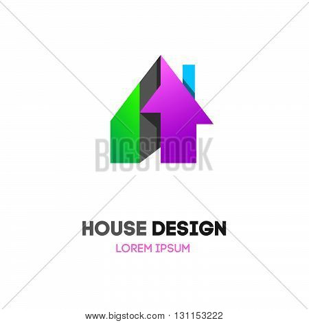Abstract House Home Vector Logo. Building Company Logo. Private Cottage Logo. Home House Roof And Mo