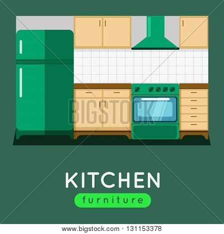 Kitchen Furniture Vector Illustration. Modern Kitchen Interior. Oven And Fridge With Extractor Fan.