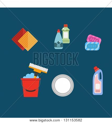 Cleaning Tools Vector Set. Detergents For Cleaning Home Or Hotel. Cleaning Products. Clean Service V