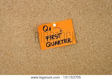 Q1 As First Quarter Written On Orange Paper Note
