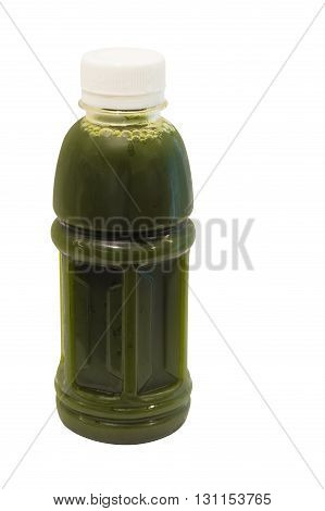 asiatic pennywort juice in plastic bottle isolated on white background with clipping path