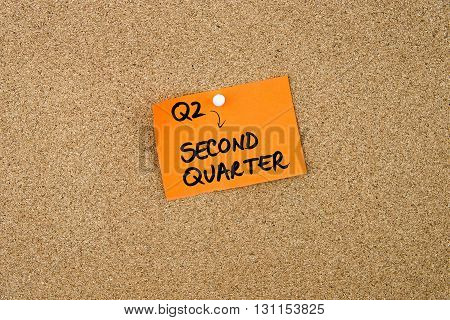 Q2 As Second Quarter Written On Orange Paper Note