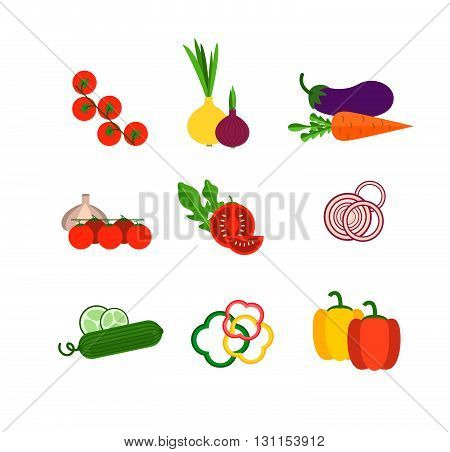 Salad ingredients vector set. Salad ingredients vector illustration. Vegetables for salad. Vegetables for mixing salad.