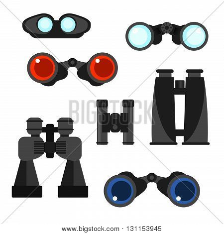 Binocular Vector Set. Zoom Tool Equipment Military Illustration. Binocular Glass. Navigation Tool Se
