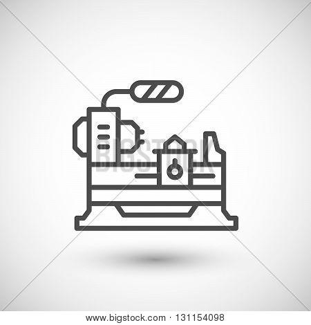 Lathe machine line icon isolated on grey. Vector illustration