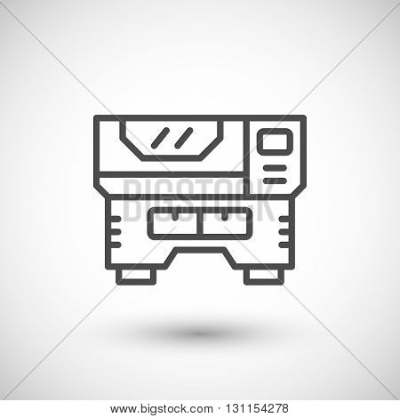Laser machine line icon isolated on grey. Vector illustration