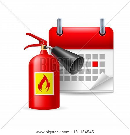 Fire extinguisher and calendar with marked day. Firefighters Day