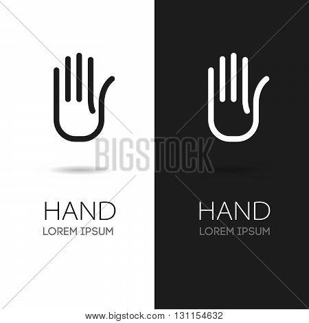 Hand vector logo. Hand icon. Handmade stylized hand. Handmade logo. Hand icon logotype. Business hand logo.