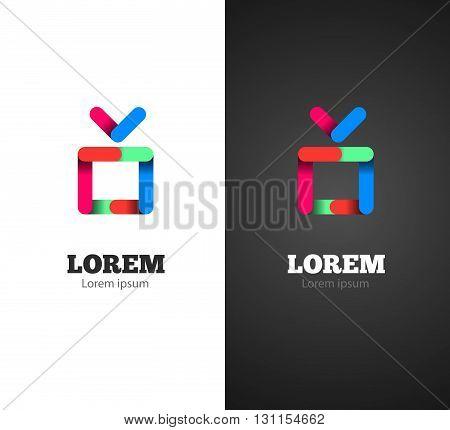 Tv with antenna modern logo for digital media. Colorful design.