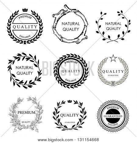 Set of vector templates for logos and icons on the theme of quality in eco style. Collection certificates elements.